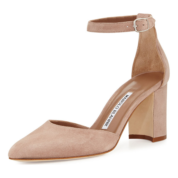 "MANOLO BLAHNIK Lausam Suede Ankle-Wrap Pump - Manolo Blahnik suede d'Orsay pump. 2.8"" covered block heel...."