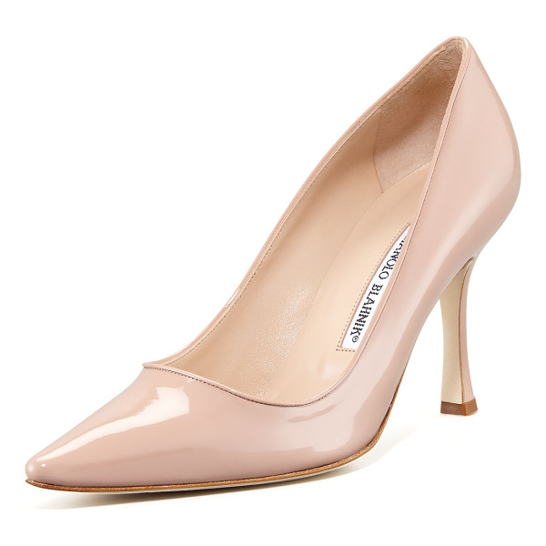 "MANOLO BLAHNIK Newcio 90mm Patent Pump - High-gloss patent leather. Pointed toe. 3 1/2"" covered"