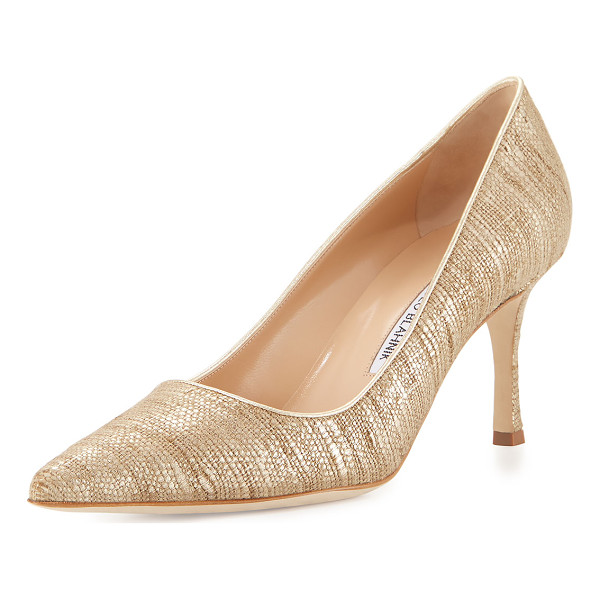 "MANOLO BLAHNIK Newcio Pointed-Toe 70mm Pump - Manolo Blahnik metallic fabric pump. 2.8"" covered heel."