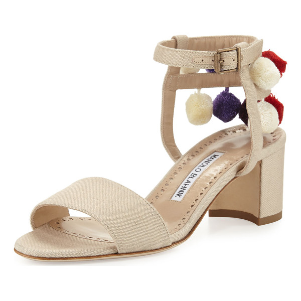 MANOLO BLAHNIK Pompom Canvas 50mm Sandal - Manolo Blahnik canvas sandal with multicolor pompoms. 2""
