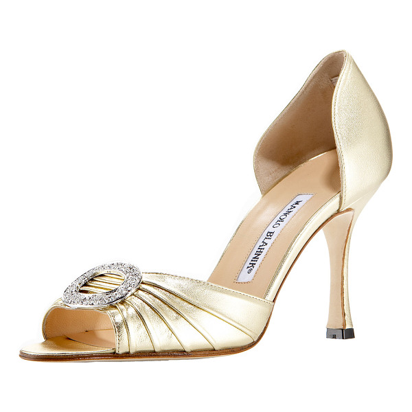 MANOLO BLAHNIK Sedaraby rhinestone buckle dorsay - Ruched peep toe is gathered into a ring set with clear...