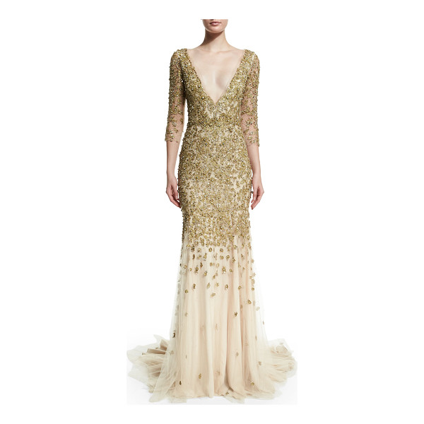 MARCHESA 3/4-sleeve crystal-embellished gown - Marchesa crystal-embroidered gown. Plunging V neckline....