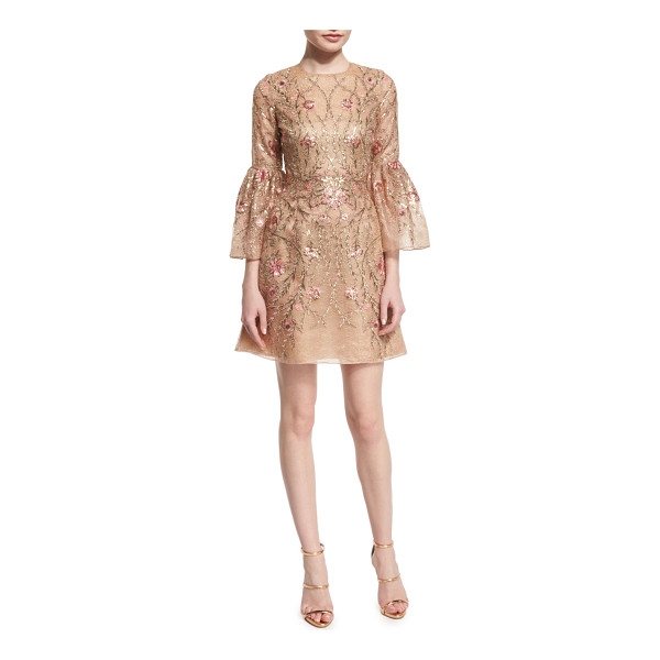 MARCHESA Embroidered bell-sleeve cocktail dress - Marchesa floral-embroidered organza dress. Jewel neckline....