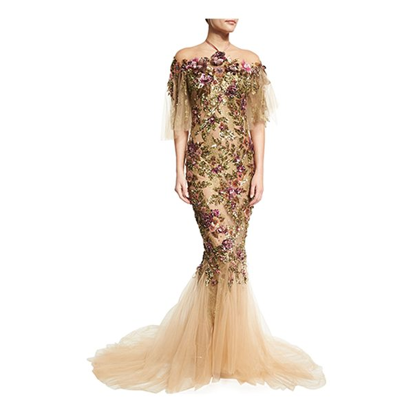 MARCHESA Floral-Embroidered Halter Mermaid Gown - Marchesa tulle gown with sequined and crystal floral...