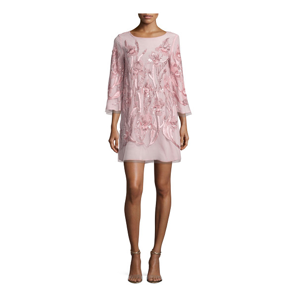 NOTTE BY MARCHESA 3/4-Sleeve Beaded Floral Cocktail Dress - Marchesa Notte mini cocktail dress with floral beading....