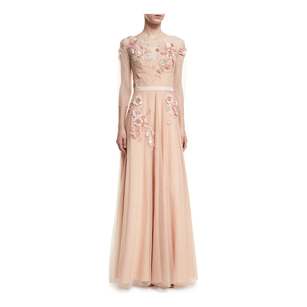 NOTTE BY MARCHESA 3/4-Sleeve Beaded Tulle Gown - Marchesa Notte tulle evening gown with beaded...
