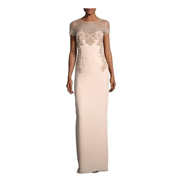 NOTTE BY MARCHESA Crepe Evening Gown w/ Illusion & Embroidery - Marchesa Notte crepe evening gown with metallic embroidery....