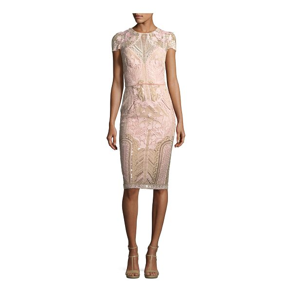NOTTE BY MARCHESA Embroidered Lace Cap-Sleeve Sheath Cocktail Dress - Marchesa Notte embroidered lace cocktail dress with...