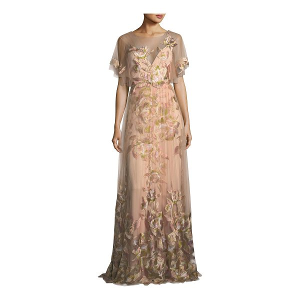 NOTTE BY MARCHESA Embroidered Tulle Flutter Sleeve Evening Gown - Marches Notte evening gown in embroidered tulle. Round...
