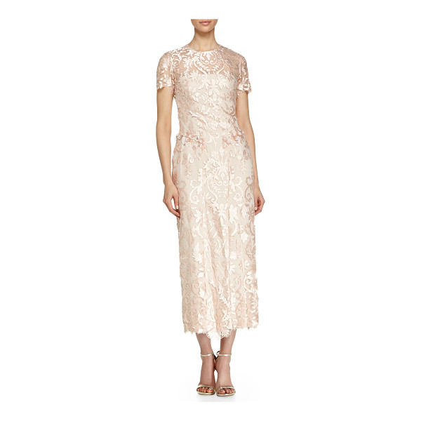 NOTTE BY MARCHESA Short-sleeve floral midi gown - Notte by Marchesa floral gown with sheer front yoke,...
