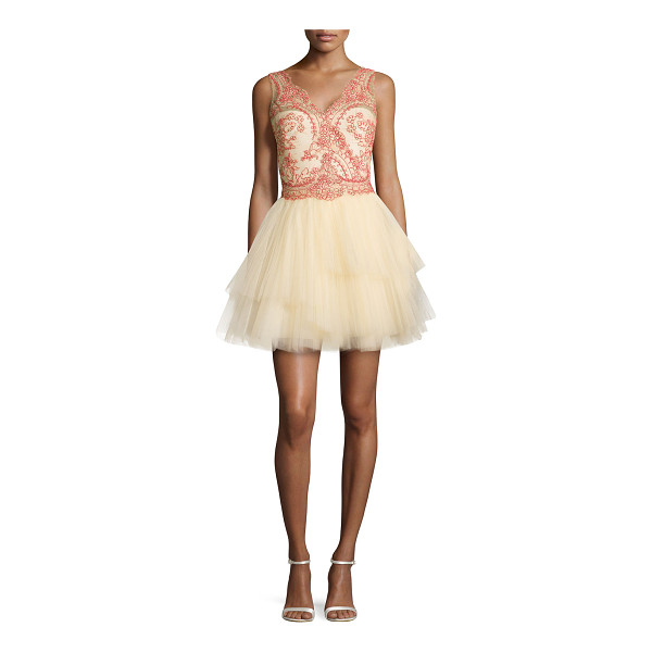 NOTTE BY MARCHESA Sleeveless tiered tulle skirt cocktail dress - Notte by Marchesa cocktail dress in tulle; embroidered...