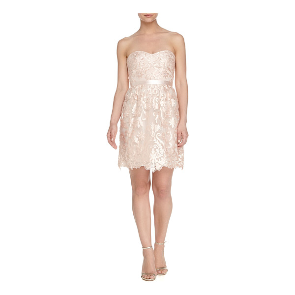 NOTTE BY MARCHESA Strapless belted floral-lace cocktail dress - Notte by Marchesa strapless floral-lace dress. Sweetheart...