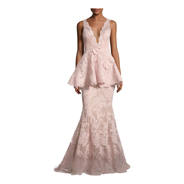 MARCHESA Sleeveless Plunging V-Neck Peplum Gown - Marchesa corded lace gown with three-dimensional floral...