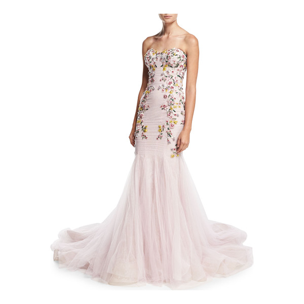 MARCHESA Strapless Embroidered Mermaid Gown - Marchesa floral-embellished tulle gown. Strapless...