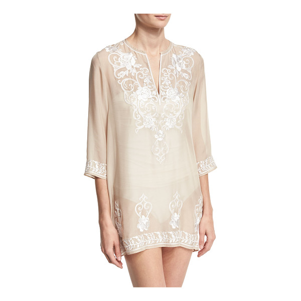MARIE FRANCE VAN DAMME Gigi Embroidered Silk Chiffon Tunic Coverup - Marie France van Damme short tunic coverup in Gigi