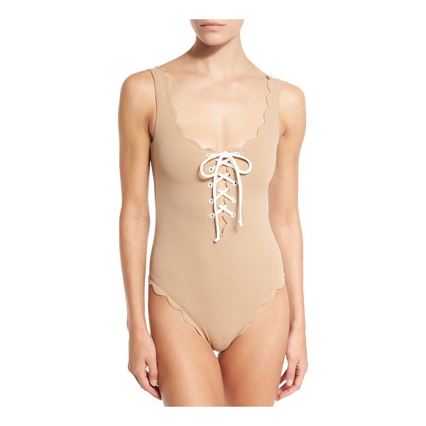 "MARYSIA Palm Springs Scalloped Lace-Up Maillot - Marysia ""Palm Springs"" one-piece swimsuit in solid textured"