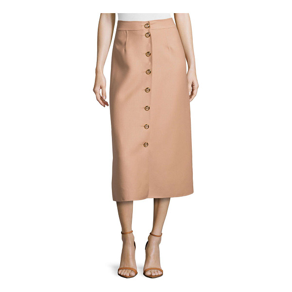 "MICHAEL KORS Button-front midi skirt - Crepe skirt by Michael Kors. Approx. measurements: 33""L..."