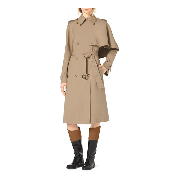 MICHAEL KORS Cape-side stretch-cotton trenchcoat - Fawn twill. Spread collar; double-breasted button front....
