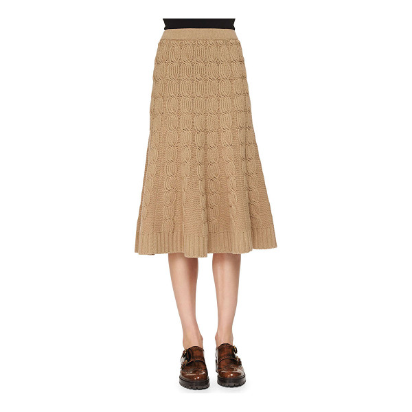 MICHAEL KORS Cashmere-blend cable-knit trumpet skirt - Michael Kors cashmere-blend cable-knit skirt with ribbed...