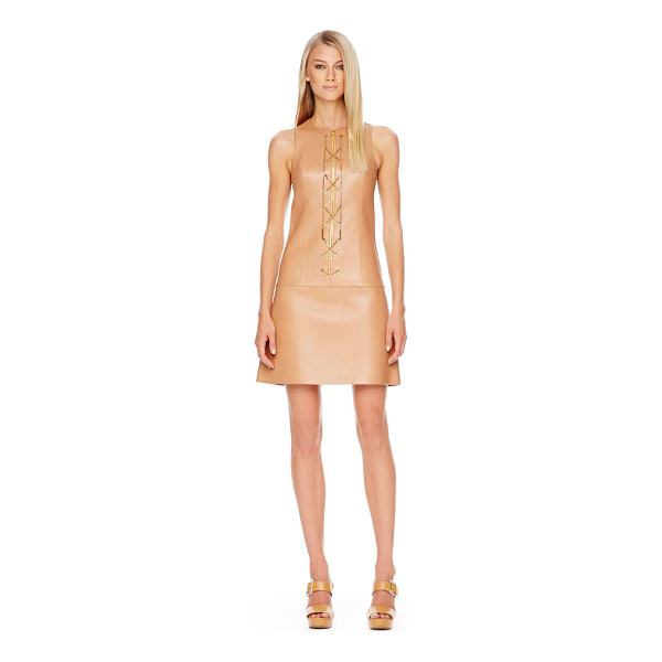MICHAEL KORS Chain-front leather dress - Michael Kors suntan leather with golden chain front. Round...