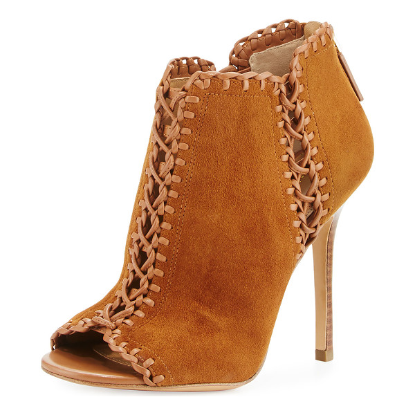 MICHAEL KORS COLLECTION Henley Whipstitch Peep-Toe Bootie - Michael Kors Collection suede bootie with whipstitch...