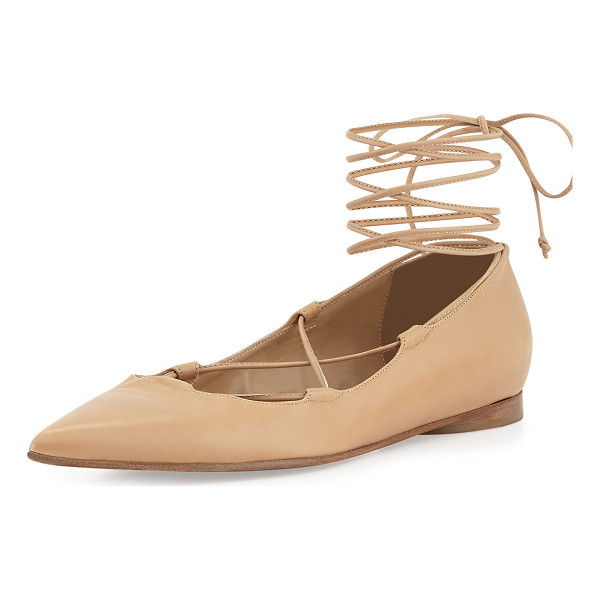 MICHAEL KORS COLLECTION Kallie leather lace-up flat - Michael Kors smooth calf leather ballerina flat with...