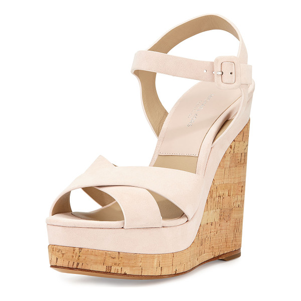 """MICHAEL KORS COLLECTION Cate Suede Wedge Sandal - Michael Kors kid suede sandal. 5"""" cork wedge heel; 1.5""""..."""