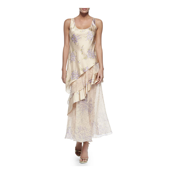 MICHAEL KORS COLLECTION Tiered tank maxi dress - Michael Kors long dress in layered, floral-print charmeuse...