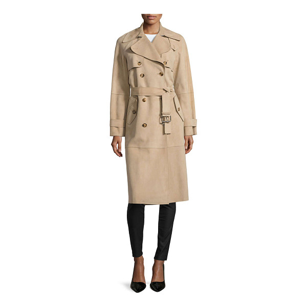 MICHAEL KORS Double-breasted trench coat - Michael Kors suede trench coat. Spread collar;...