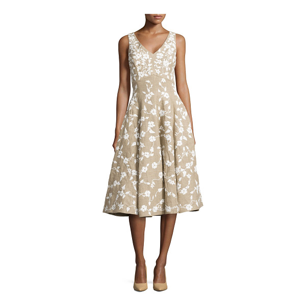 MICHAEL KORS Floral-embroidered dance dress - Hemp melange floral-embroidered raffia dance dress by...