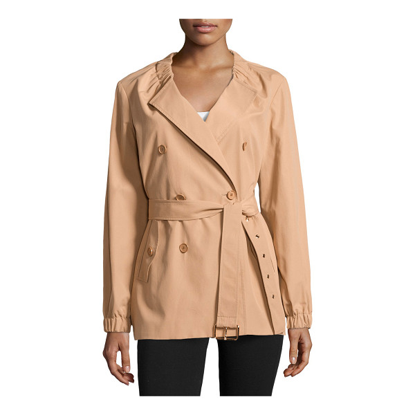 MICHAEL KORS Gathered-neck belted trench coat - Michael Kors tech trench. Gathered collar; peaked lapels....