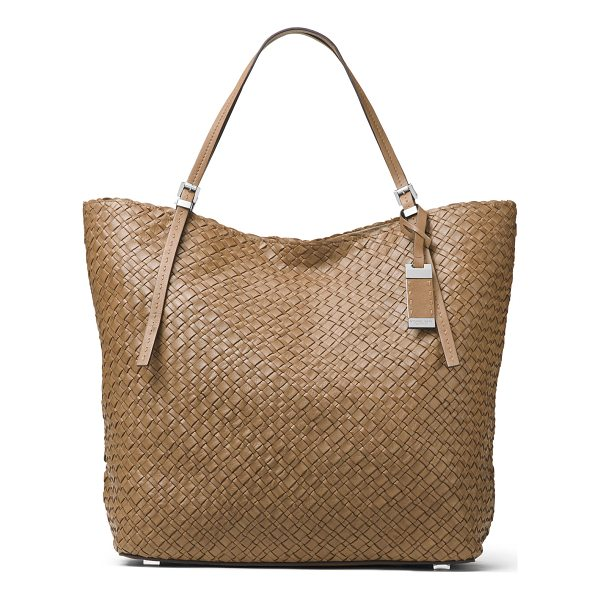MICHAEL KORS Hutton Large Woven Leather Tote Bag - Michael Kors woven calfskin tote bag. Palladium plated...