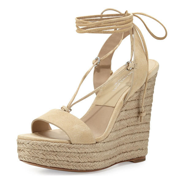 "MICHAEL KORS COLLECTION Clive Suede Lace-Up Wedge Espadrille Sandal - Michael Kors sport suede sandal. 5"" braided-jute wedge..."