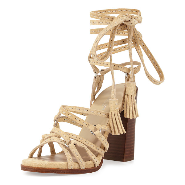 "MICHAEL KORS COLLECTION Rowan Suede Lace-Up Sandal - Michael Kors sport suede sandal. 4.3"" stacked block heel."