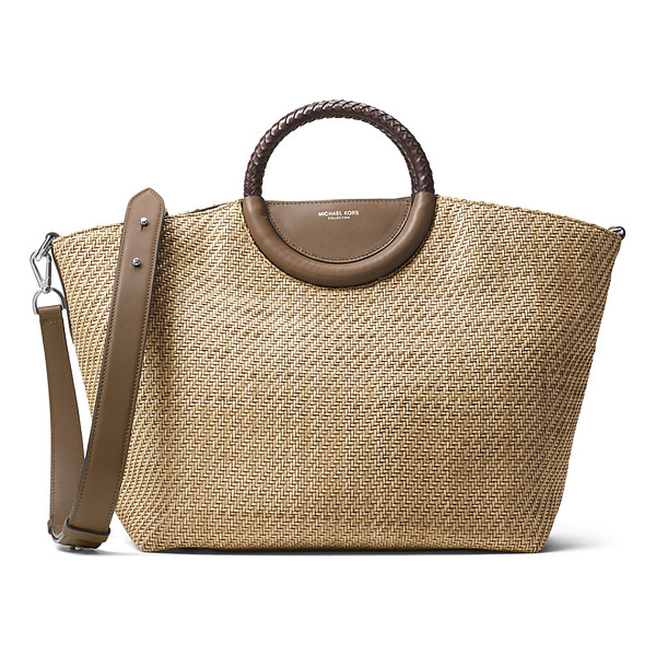 MICHAEL KORS Skorpios Woven Market Tote Bag - Michael Kors woven market tote bag with leather trim.