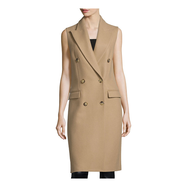 MICHAEL KORS Sleeveless Double-Breasted Coat - Michael Kors wool coat. Peaked lapels; double-breasted...