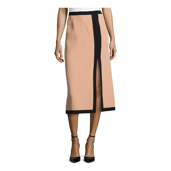 MICHAEL KORS Slit-front two-tone midi skirt - Michael Kors suntan skirt with black trim. Natural waist....