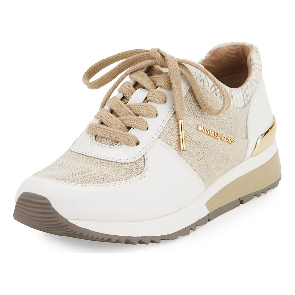 MICHAEL MICHAEL KORS Allie Cotton Trainer Sneaker - MICHAEL Michael Kors cotton sneaker with leather trim. 1.3""
