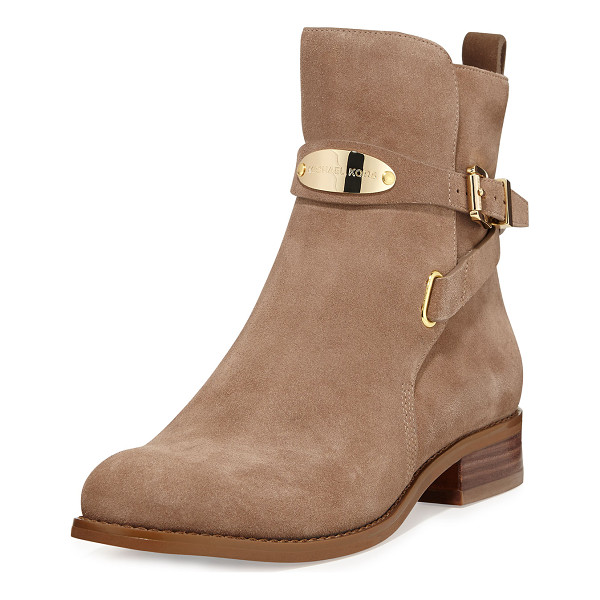 MICHAEL MICHAEL KORS Arley suede ankle boot - - Dark khaki suede with golden hardware. Round toe. Buckled...