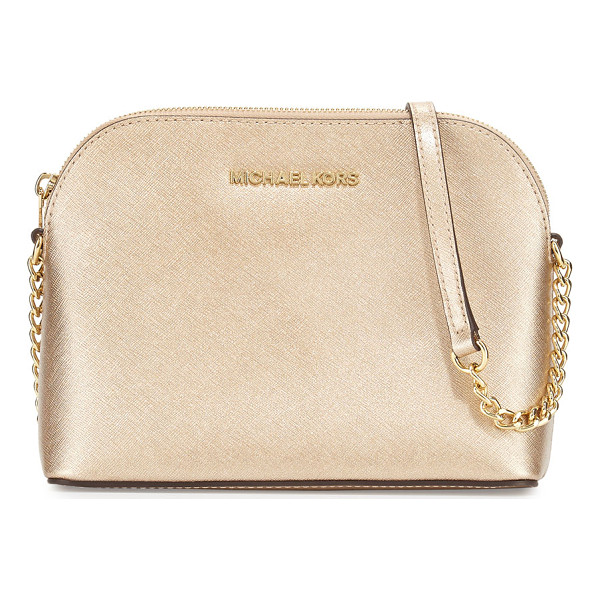 MICHAEL MICHAEL KORS Cindy Large Dome Crossbody Bag - MICHAEL Michael Kors metallic saffiano leather crossbody....