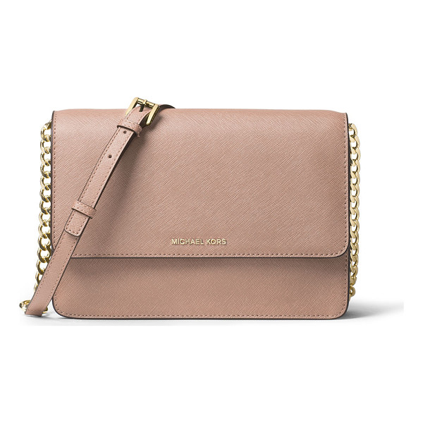 MICHAEL MICHAEL KORS Daniela Large Saffiano Crossbody Bag - MICHAEL Michael Kors saffiano leather crossbody bag. Golden