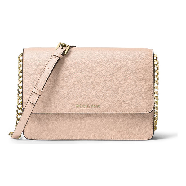 MICHAEL MICHAEL KORS Daniela Large Saffiano Crossbody Bag - MICHAEL Michael Kors saffiano leather crossbody bag. Golden...