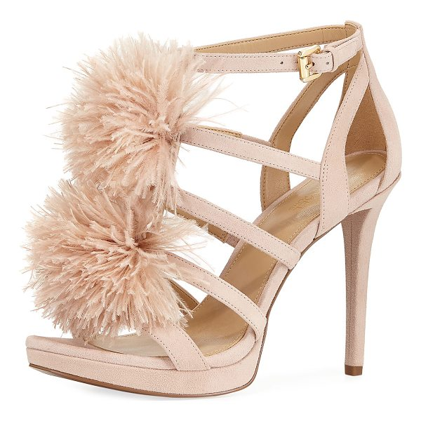 MICHAEL MICHAEL KORS Fara Suede Feather Pouf Sandal - MICHAEL Michael Kors suede high sandal with ostrich feather...