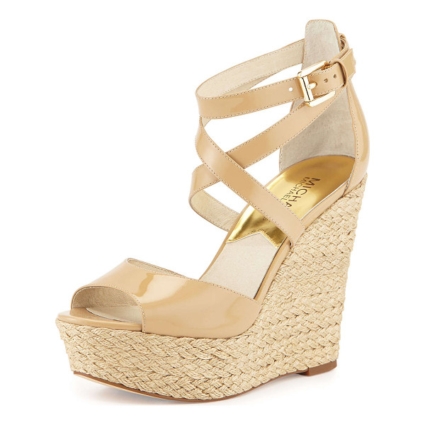 MICHAEL MICHAEL KORS Gabriella patent leather wedge sandal - Michael Kors strappy sandal with patent leather upper. 4....