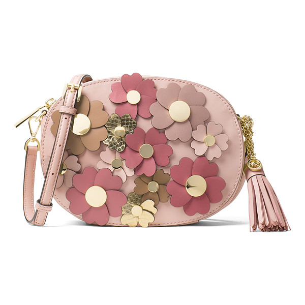 MICHAEL MICHAEL KORS Ginny Medium Floral Messenger Bag - MICHAEL Michael Kors leather messenger bag with floral...