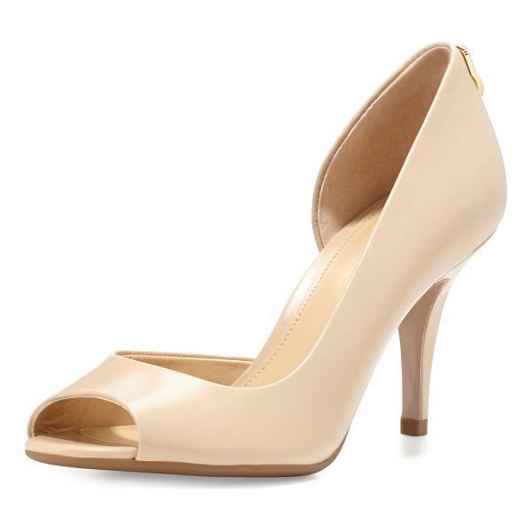 "MICHAEL MICHAEL KORS Hamilton Open-Toe Flex d'Orsay Pump - MICHAEL Michael Kors kid leather d'Orsay pump. 3"" covered..."