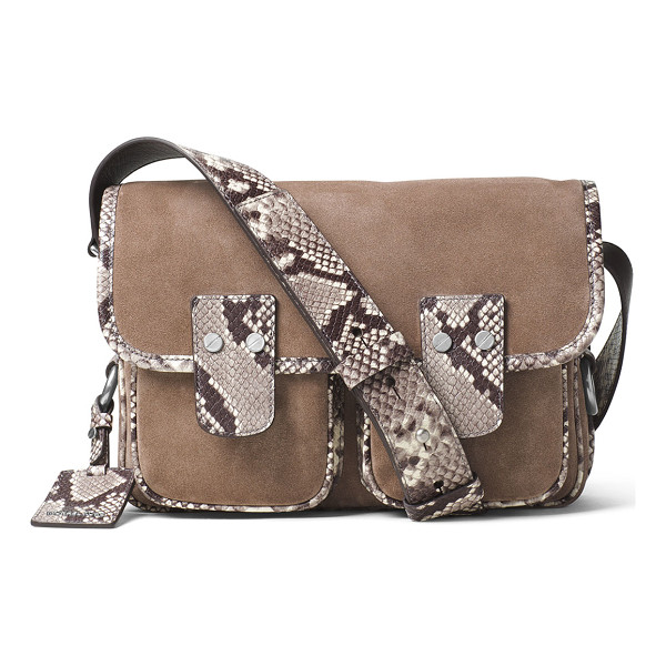 MICHAEL MICHAEL KORS Hewitt large suede messenger bag - MICHAEL Michael Kors suede and luxe python-embossed leather...