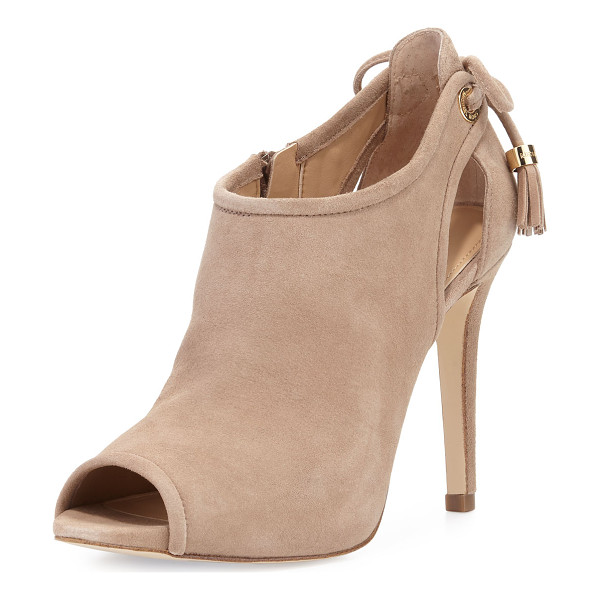 "MICHAEL MICHAEL KORS Jennings Suede Bow-Back Open-Toe Bootie - MICHAEL Michael Kors kid suede bootie. 4"" covered heel;..."