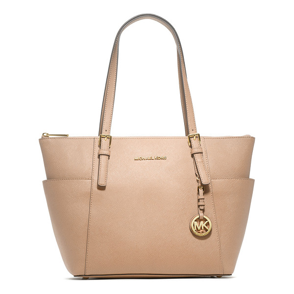 MICHAEL MICHAEL KORS Jet Set Top-Zip Saffiano Tote Bag - MICHAEL Michael Kors saffiano leather tote bag with golden
