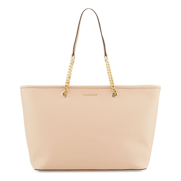 MICHAEL MICHAEL KORS Jet Set Travel Medium Chain Leather Tote Bag - MICHAEL Michael Kors saffiano leather tote bag. Chain and...